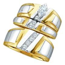 10k Yellow Gold His & Her Marquise Diamond Matching Bridal Wedding Ring Set - $587.70