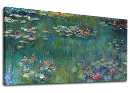 Canvas Wall Art Water Lilies by Claude Monet Panoramic Scenery Painting - $24.90+