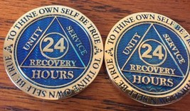 Blemished 24 Hours AA Medallion Blue Gold Plated Sobriety Chip Coin - $11.99