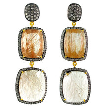 Rutile Quartz Gemstone 14 K Gold 3.19 Ct Diamond Pave Dangle Earrings 92... - $1,172.05