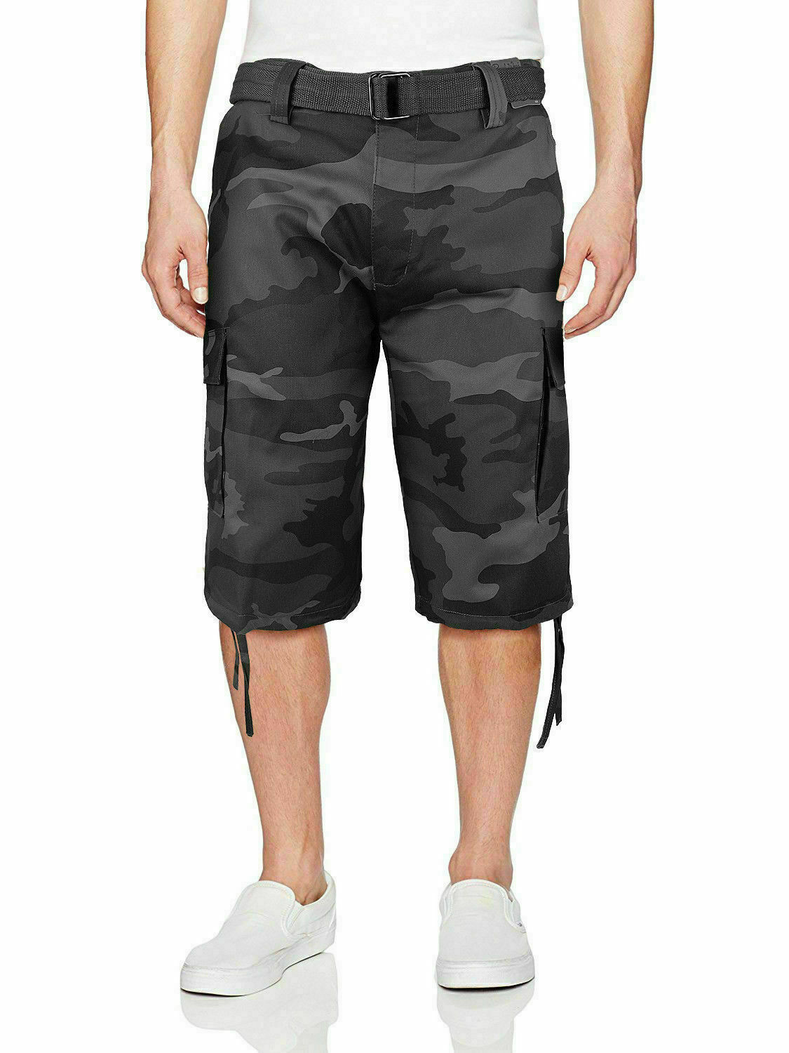 Men's Military Army Camo Camouflage Slim Fit Cargo Shorts With Belt - Size 40