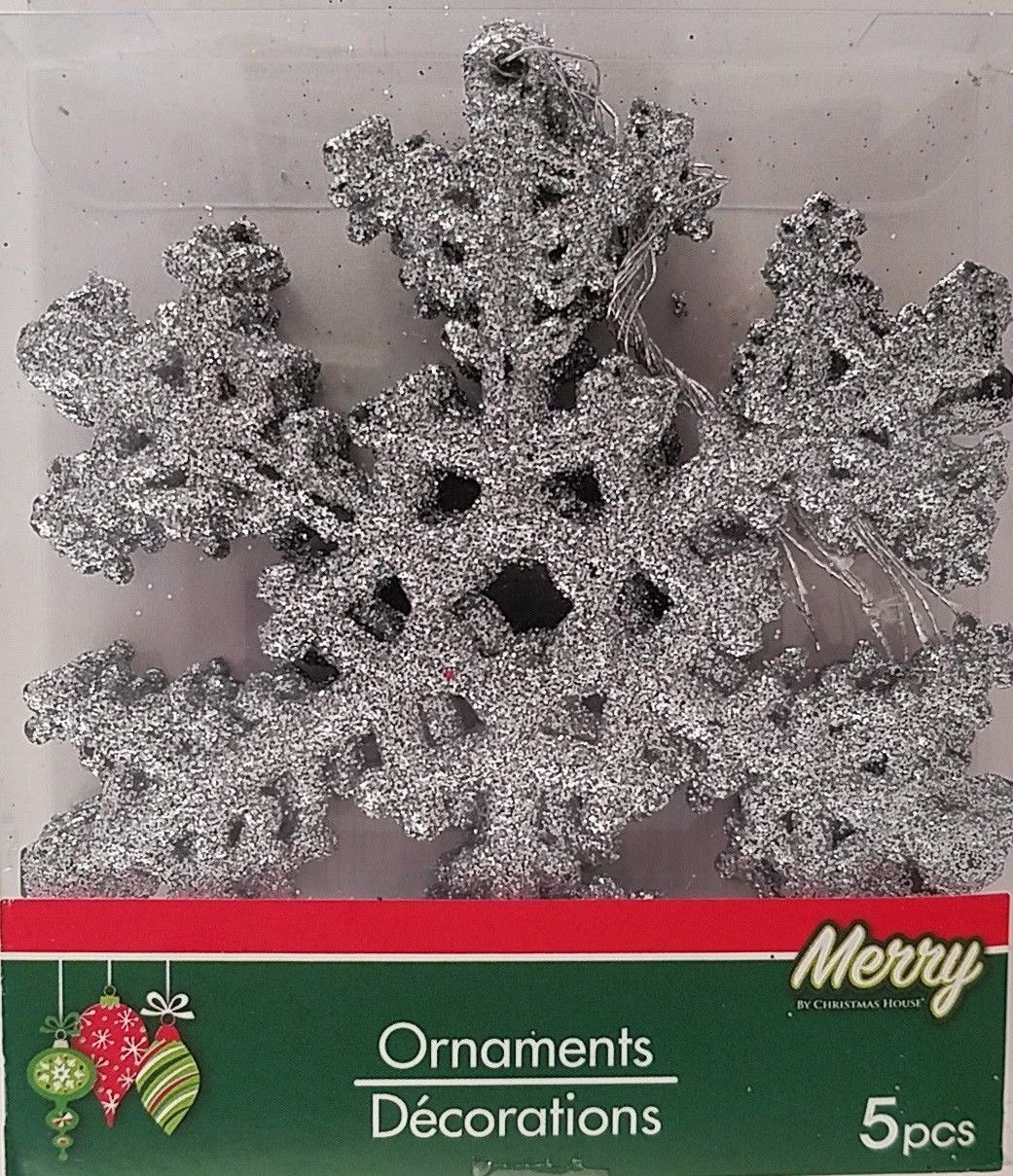Primary image for Christmas Ornaments Silver Snowflakes Glitter 5 Ct/Pk w