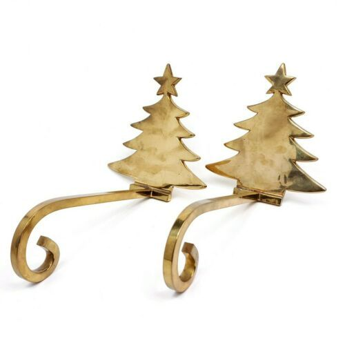 Primary image for Solid Brass Stocking Holder Christmas Tree Lot of 2 Long Arm Hanger Mantel Hook