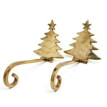 Solid Brass Stocking Holder Christmas Tree Lot of 2 Long Arm Hanger Mant... - $61.18