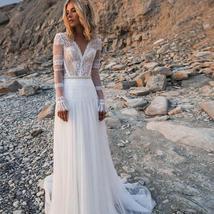 V Neck Long Sleeves Lace Appliques A Line Bridal Gowns Plus Size