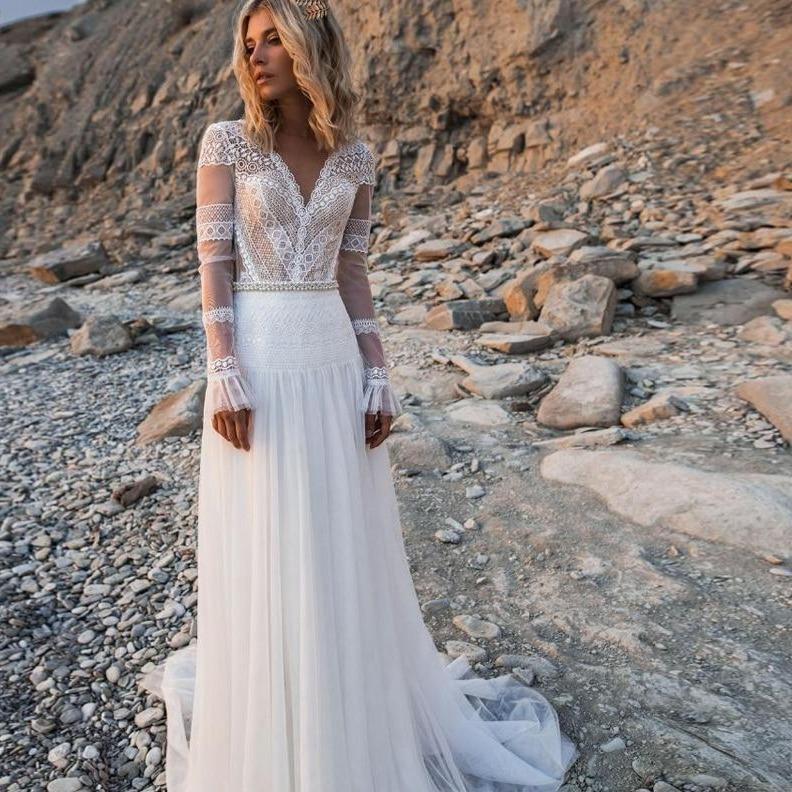 Lorie 2019 beach bohemian wedding dresses v neck long sleeves lace appliques bridal gowns boho a
