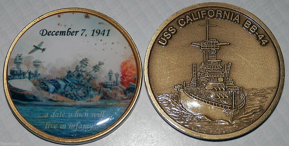 NAVY USS CALIFORNIA BB-44 LAST TORPEDO DAY OF INFAMY PEARL HARBOR CHALLENGE COIN