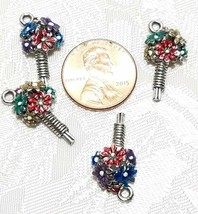 COLORFUL BOUQUET OF FLOWERS FINE PEWTER PENDANT CHARM - 11x21x5mm image 2