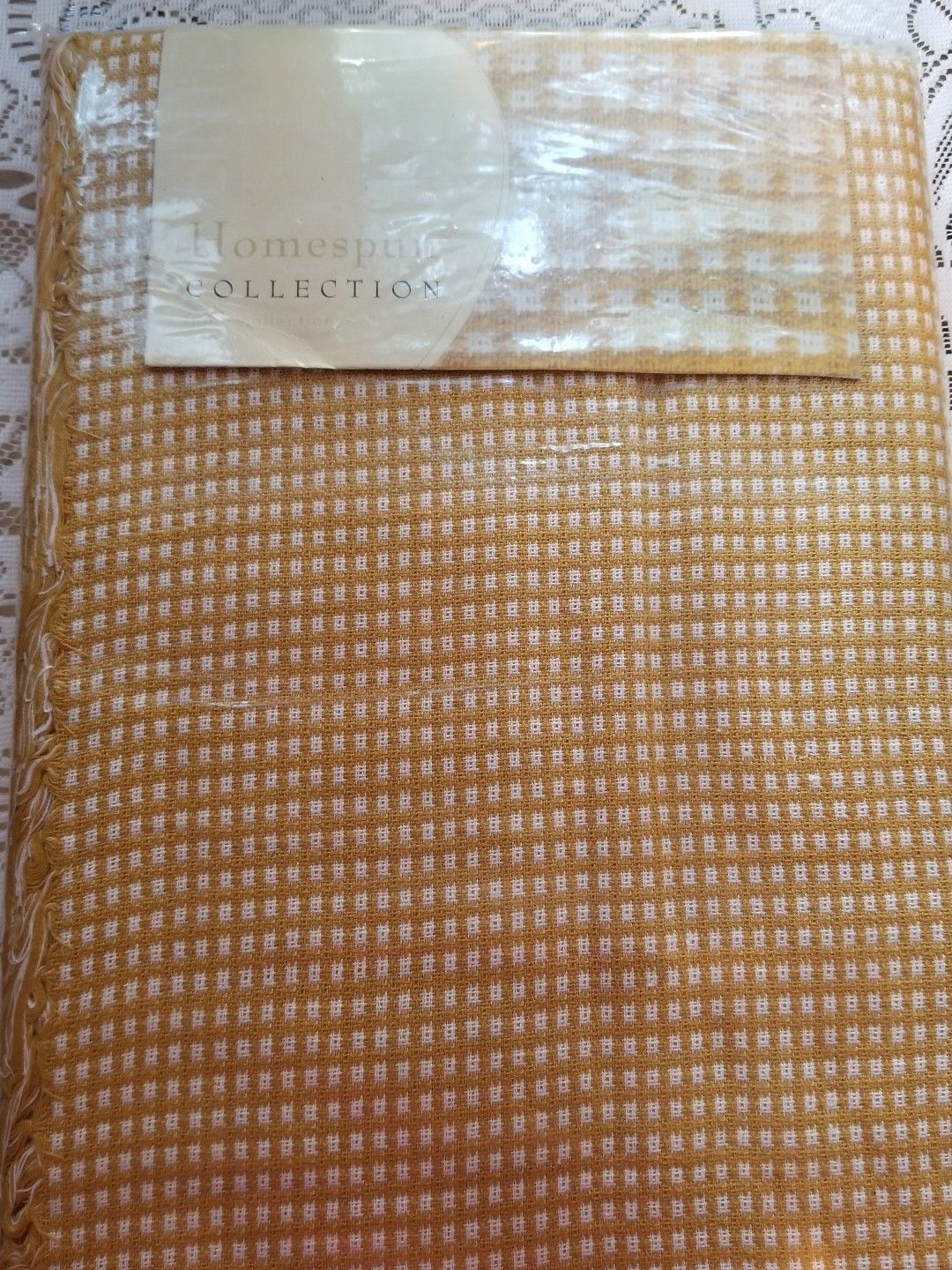 Primary image for Homespun collection Tablecloth gold white Rectangular NEW rare Christmas gift