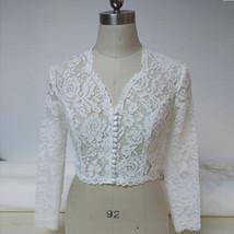 Women Retro Square Neck Lace Shirt Button Down Wedding Bridal Lace Crop Shirts image 1