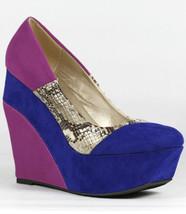 Blue Purple Velvet Snake Skin Embossed Colorblock High Heel Platform Wedge Qupid - $9.99