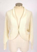 Ann Taylor Loft Ivory Mohair Mesh Knit Cardigan Sweater Dolman Sleeve Womens S - $19.79