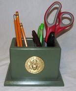 Pencil, Pen & Accessory Desk Organizer box holder - Army Green w/ Army M... - $14.95