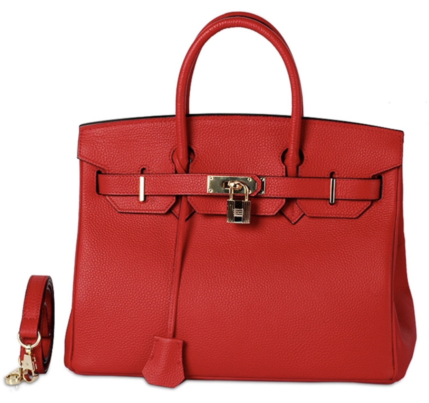 30cm Pebbled Leather Birkin Style Lock and Key Satchel Handbag Purse 1946M