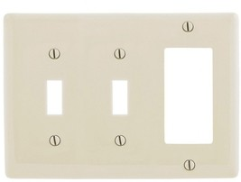 Hubbell 3-Gang Light Almond Triple Toggle/Decorator Wall Plate - $18.76