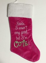 Christmas Stocking Santa Wasn't Good I'm Cute NEW HOT Pink Green Modern ... - $18.37