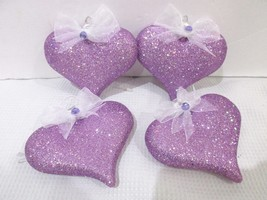"Valentines Day Shabby Chic Lavender Glitter Hearts 3"" Ornaments Decor Se... - $22.99"