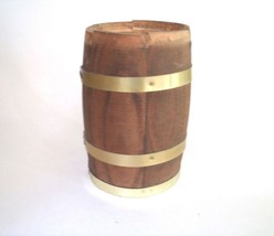 "Wooden Barrel Decorative Metal Bands Rustic Wood 7"" Planter  - $23.75"