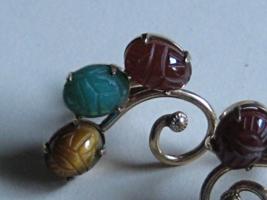Vintage AMCO pair earrings 3-Carved Stones 14k gf Multi  color - $50.00