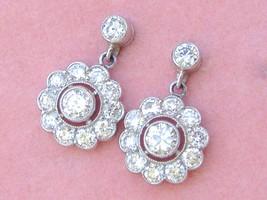 ART DECO 1.73ctw BRILLIANT DIAMOND CLUSTER PLATINUM SHORT STUD DANGLE EA... - $3,316.50
