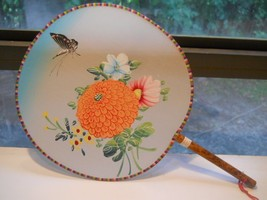 Vintage Hand Fan, Palace Fans Floral with butterfly - $9.99