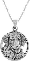 Jewelry Trends Sterling Silver Golden Retriever Canine Dog Pendant on 18... - $34.38