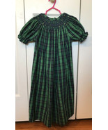 Lolly Wolly Doodle Smocked Easter Dress 5 green tartan plaid holiday st ... - $14.82