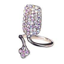 Rhinestone Flower Fingernail Ring Nails Cap Cover Finger Joint Art Charm, Silver