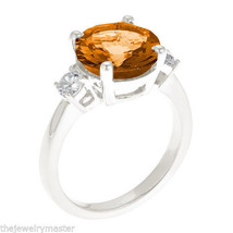 CITRINE & DIAMOND 3-STONE RING 10mm ROUND CUT 14KT WHITE GOLD 3.33 CARATS - €1.015,29 EUR