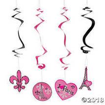 12 Perfectly Paris Fleur de Lis Eiffel Tower Hanging Decoration Swirls - $7.74