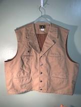 Wyoming Traders Tall Mens Tan Bronco Canvas Cowboy Western Vest XXXL (3xl) - $44.99