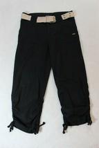 Girls Capri Pants Size 10 Black Belted Drawstring Hem Ruche Legs Casual ... - $19.79