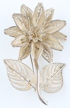 Vintage Sterling Silver Large Filigree Flower Brooch Made in Mexico - $59.40