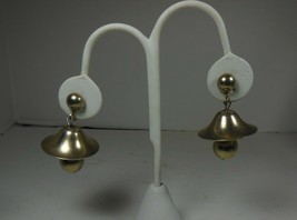 Gold Tone Bell Earrings Screw Back - $10.88