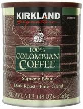 Kirkland Signature 100% Colombian Coffee Supremo B EAN Dk Roastfine Grind 3LB (2) - $42.60