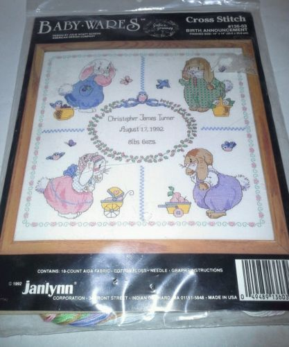 Janlynn Counted Cross Stitch Kit Baby Wares NIP Birth Announcement Bunnies Birds