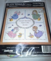 Janlynn Counted Cross Stitch Kit Baby Wares NIP Birth Announcement Bunni... - $18.99