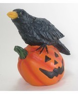 Black Crow Figurine with Glowing Eyes on Orange  Pumpkin Jack-o-lantern ... - $18.76