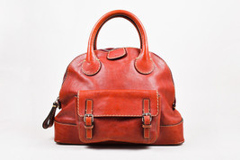 """Chloe Red Distressed Leather Cream Stitching SHW """"Edith Large Bowler"""" Bag - $665.00"""