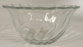 """Vintage Clear Glass Swirl Pattern Bowl 3.25"""" T Collectible Serveware Tableware - $12.99"""