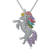 ~Rainbow UNICORN~ made with Swarovski Crystal HORSE Myth Fairy Necklace ... - $7.83