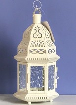 "Large Moroccan Style Lantern White Candleholder Wedding Centerpiece 15"" Tall - $15.00"