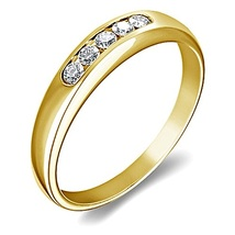 14k Yellow Gold Plated 925 Sterling Silver Round Cut White CZ Wedding Band Ring - £31.30 GBP
