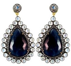 Pave Diamond 14k Gold 925 Silver Sapphire Dangle Drop Earrings Moonstone... - $1,377.01