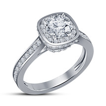 10k White Gold Plated 925 Sterling Silver Round Cut CZ Solitaire W/ Accent Ring - $89.99