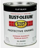 Rust-Oleum FLAT BLACK 1 qt. Stops Rust PROTECTIVE ENAMEL Oil-Based 7776-... - $19.99