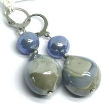 """PENDANT EARRINGS BLUE GRAY ROUNDED DROP MURANO GLASS 5cm 2"""" MADE IN ITALY image 1"""