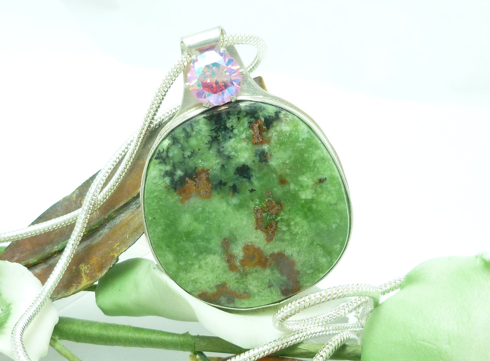 Natural Serpentine Gemstone Round Sterling Pendant Green Pink
