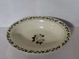 "Hall China Cameo Rose Oval Serving Bowl 10.5"" White Flower Rose Jewel Ho... - $7.91"