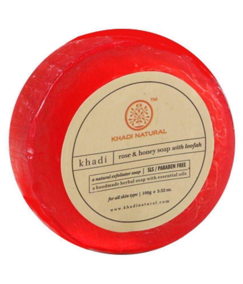 KHADI NATURAL HERBAL HANDMADE ROSE & HONEY LOOFAH SOAP (ROUND SHAPE) 100 GM